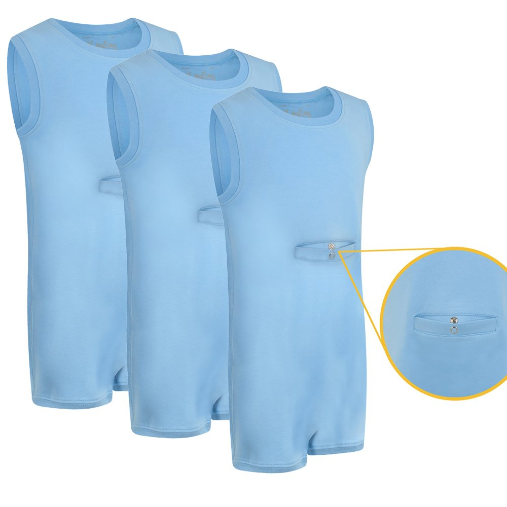 Special Needs Clothing w/ TUBE ACCESS for Older Children (2-16 yrs old) - SLEEVELESS Bodysuit for Boys & Girls by KayCey