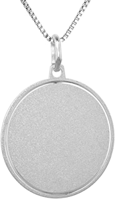 Sterling Silver Plated Finish Engravable Round Polished Disc Charm on a Sterling Silver Cable Snake or Ball Chain Necklace
