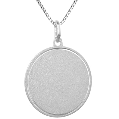 Amazon sterling silver disk pendant round for engraving italy 1 amazon sterling silver disk pendant round for engraving italy 1 inch 16 inch box015 jewelry mozeypictures Images