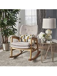 Bethany Mid Century Fabric Rocking Chair Wheat