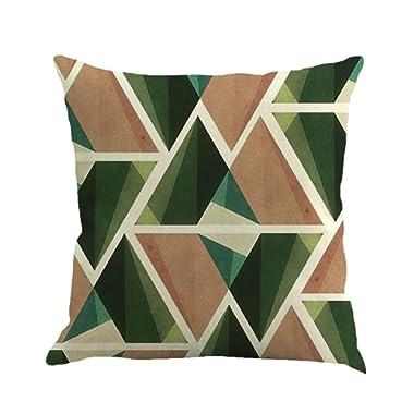 iYBUIA Retro Farmhouse Geometry Painting Linen Cushion Cover Throw Pillow Case Sofa Home Decor