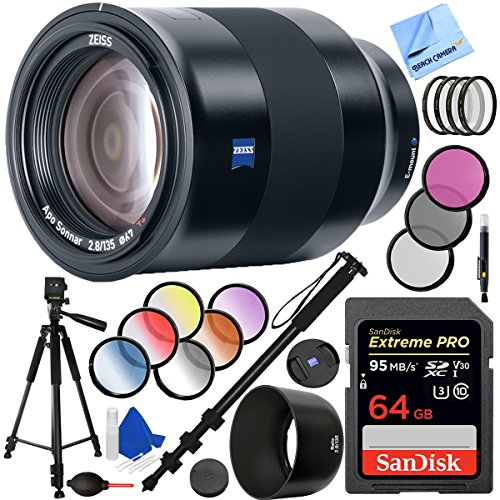 Zeiss Batis 135mm f/2.8 Full Frame Lens for Sony E Mount with 67mm Filter Sets Plus 64GB Accessories Bundle