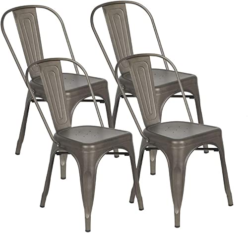 BONZY HOME Metal Dining Chairs, Stackable Side Chairs with Back, Indoor Use Chair for Farmhouse, Patio, Restaurant, Kitchen, Set of 4 Gun