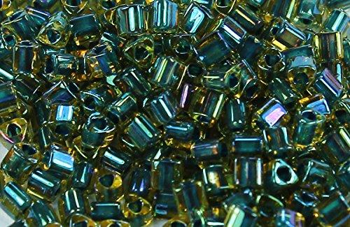 11/0 Triangle TOHO Japanese Glass Seed Beads #243-Topaz/Opaque Emerald Lined 15g