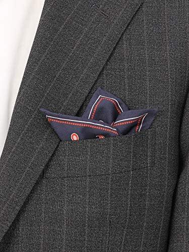 (ザ・スーツカンパニー) ペイズリープリント コットンシルクポケットチーフ ネイビー×オレンジ×ピンク