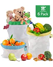 Kitchwise Reusable Produce Bags, Set of 6 Reusable Mesh Produce Bags with Tare Weight Tags,See-Through & Washable Storage Bags