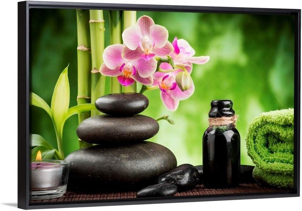 Zen Basalt Stones Orchid And Candle Black Float Frame Canvas Art Photography Artwork Posters Prints