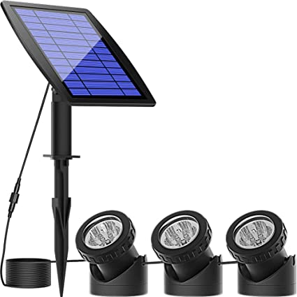 Warm White Solar Pond Spotlights,Submersible Pond Lights with 3 Lamps 18 LEDs Landscape Spotlight Underwater Lights IP68 Waterproof solar Lights for Pond,Garden,Landscape,Fountain,Outdoor,Lawn