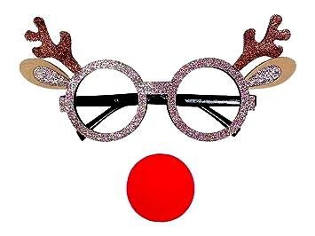 2754e7ecdaf5 Alsino ® Reindeer Glasses with Clown Nose
