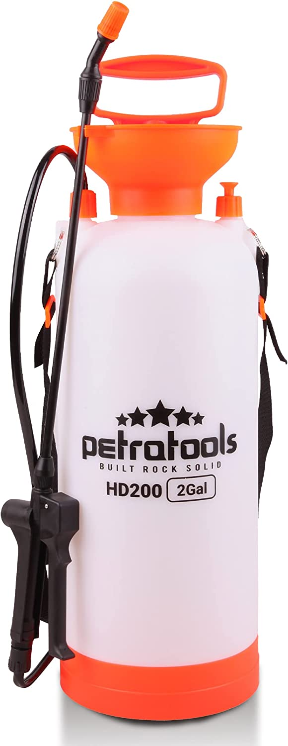 PetraTools 2-Gallon Sprayer - Lawn and Garden Pump Sprayer - for Weeds, Water, Chemical, Pesticide, Disinfectant, ULV500 – Includes Should Strap, Wand, Nozzle (HD200)