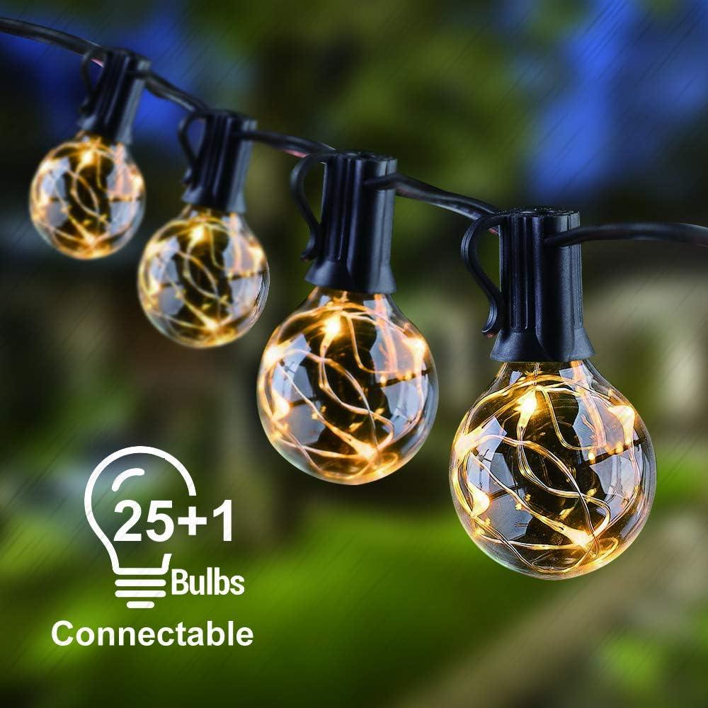 Garten +1 Ersatzbirnen Warmwei/ßes f/ür Terrasse KINOLA G40 Global LED Lichterketten 9,35 m // 30,67 ft wasserdichte Gl/ühbirnen Innen- // Au/ßenleuchten 25 St/ück Hochzeit Party Gartendekoration