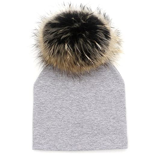 1645cf01228 Image Unavailable. Image not available for. Color  GZHILOVINGL Baby Toddler  Bonnet Hat with Big Real Fur Pom Pom Kid ...