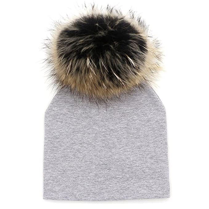 75f66adb59f GZHILOVINGL Baby Toddler Bonnet Hat with Big Real Fur Pom Pom Kid Girl  Winter Beanie  Amazon.ca  Clothing   Accessories