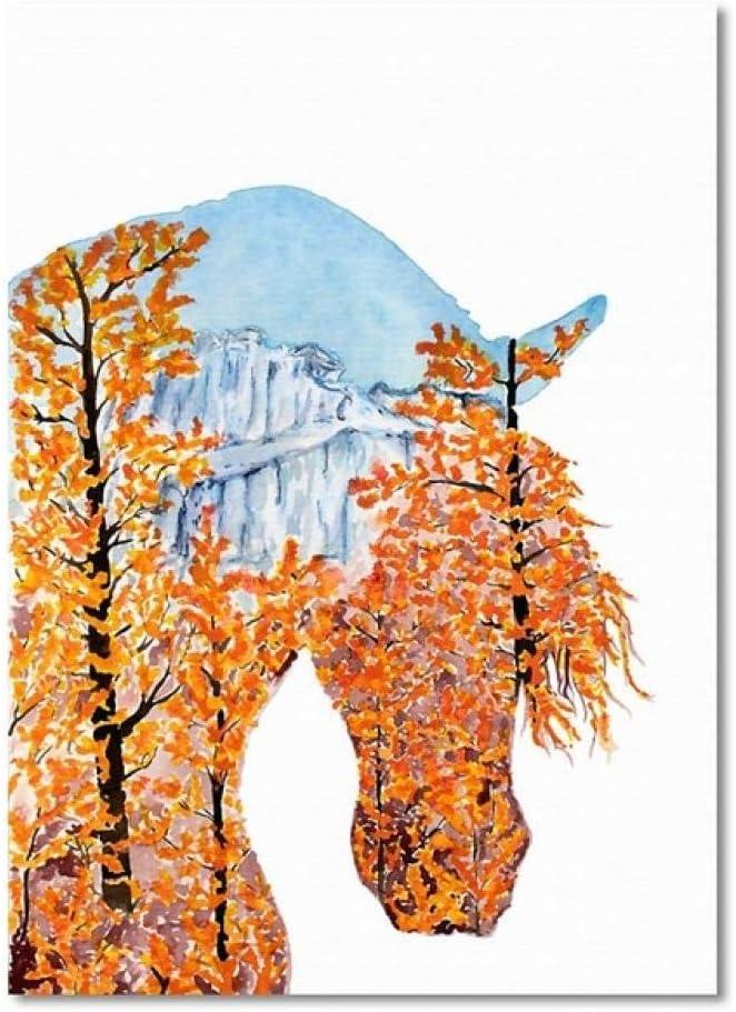 NOBRAND La Silueta del Caballo Hermoso Paisaje Natural Pintura en Lienzo Carteles e Impresiones Imágenes de Pared para la decoración de la Sala de Estar 50x70cmNoFrame