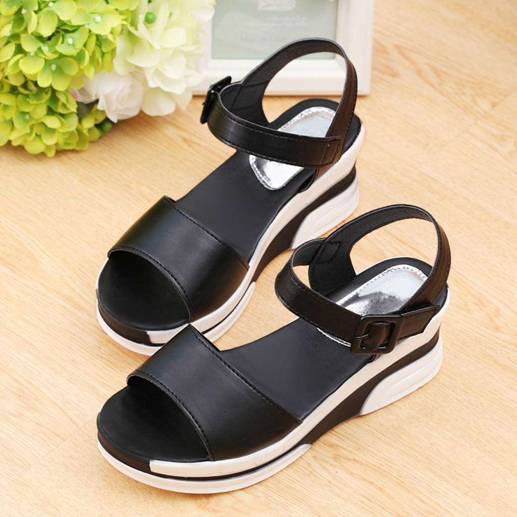 Thenxin Summer Solid Heel Sandals with Flat-Bottomed Muffin Platform Women Shoes for Work (Black,7 US) by Thenxin (Image #2)