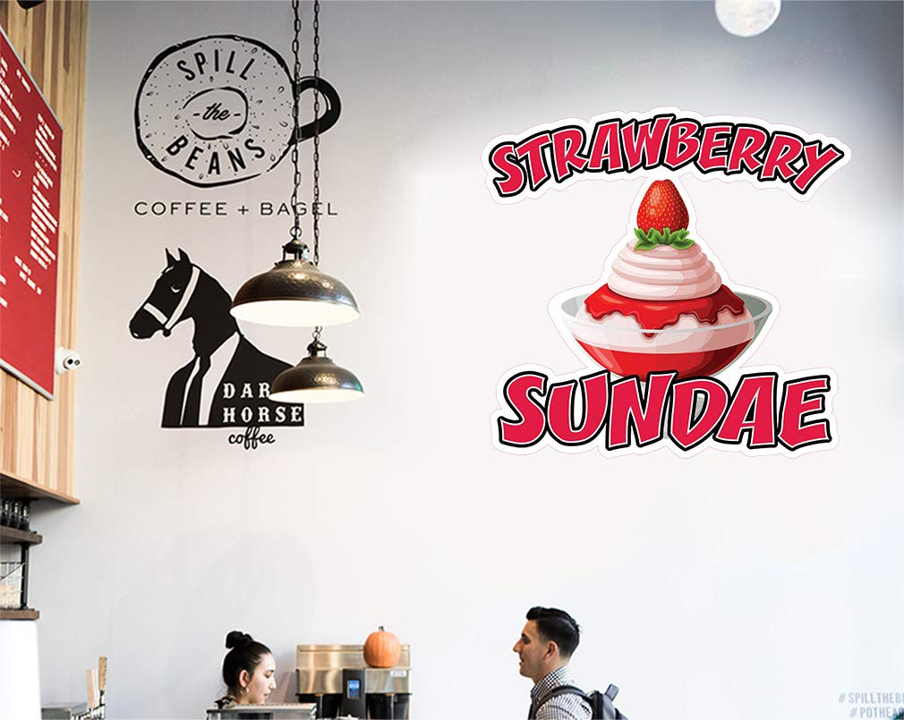 Die-Cut Sticker Multiple Sizes Strawberry Sundae Style A Retail Strawberry Sundae Indoor Decal Concession Sign red 14in Longest Side