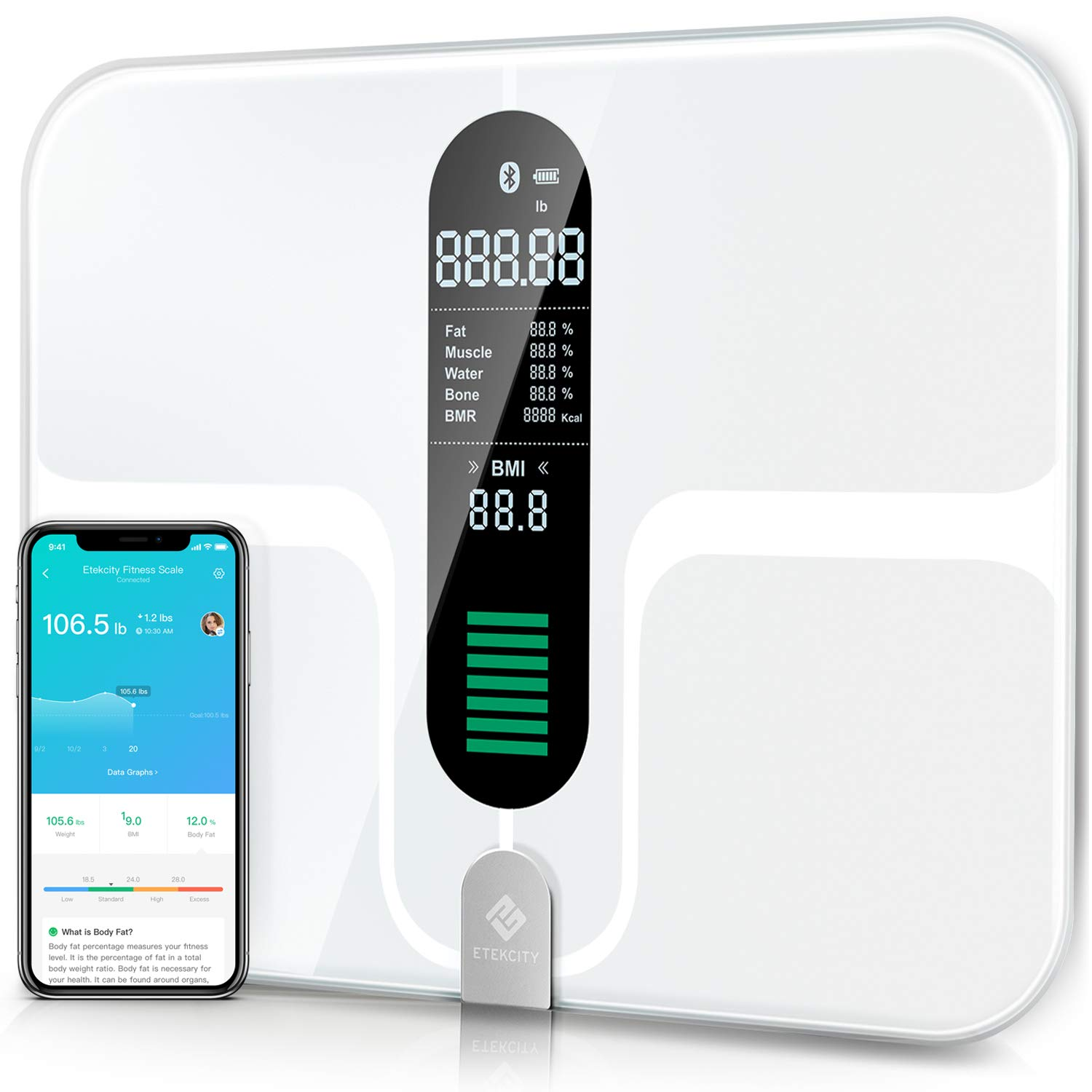 Etekcity Smart Bluetooth Body Fat Scale - Digital Bathroom Weight Scale with 12 Essential Measurements, Large Platform and Clear LCD Display, ITO Conductive Glass, FDA Compliant, 400lb (180kg)