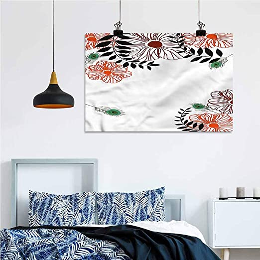 Amazon Com Peacock Diy Wall Decor Ideas Artsy Exotic Bird Feathers 16x24 Inch Bathroom Wall Decor Office Home Decoration Home Kitchen