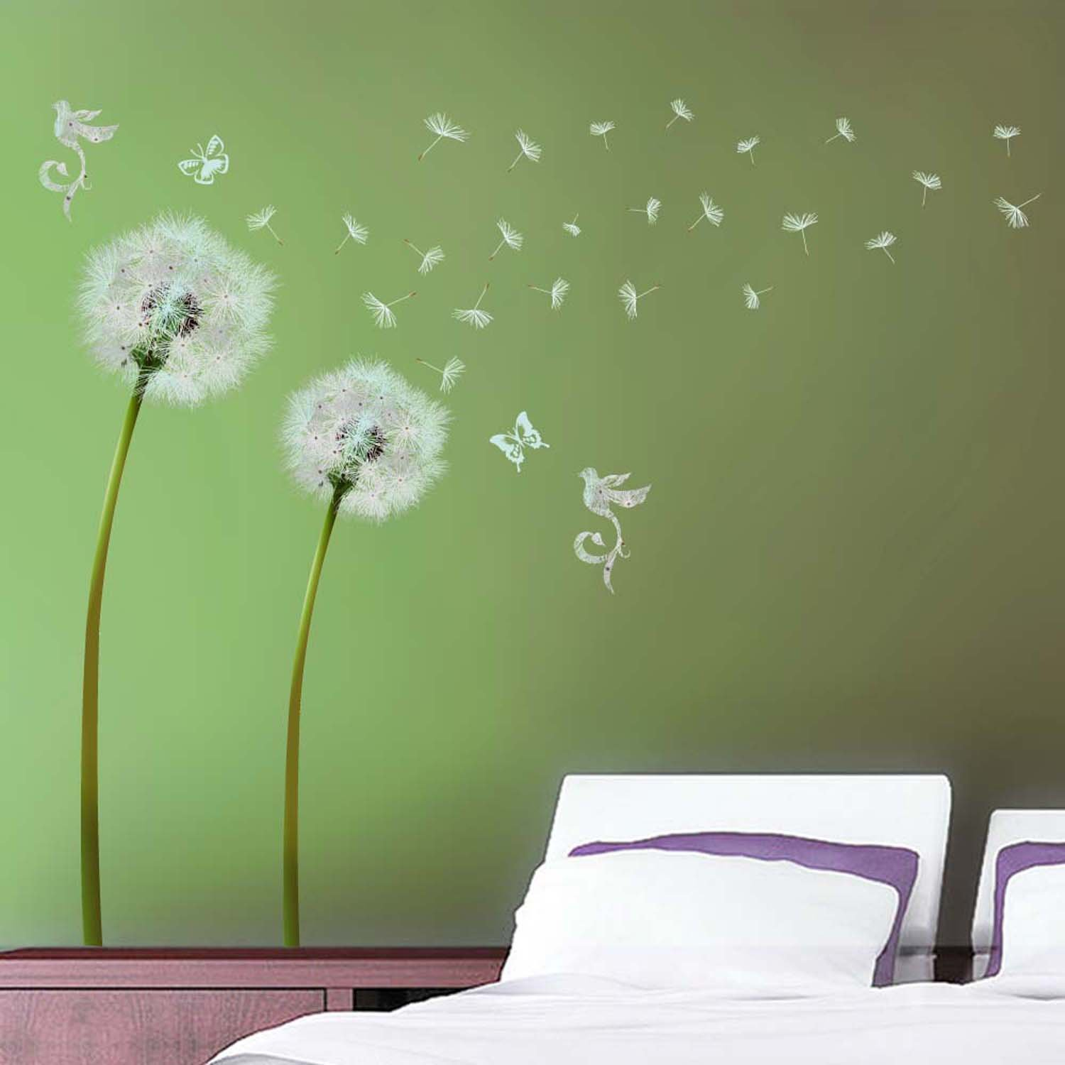Amazon walplus wall stickers white dandelion removable self amazon walplus wall stickers white dandelion removable self adhesive mural art decals vinyl home decoration diy living bedroom office dcor wallpaper amipublicfo Images