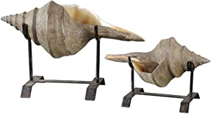 Intelligent Design Sea Shells on Iron Stands Sculptures | Coastal Beach Ocean D?cor