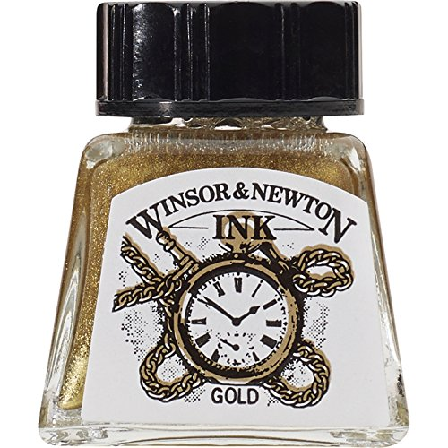 Winsor & Newton Drawing Ink Bottle, 14ml, Gold (Newton Windsor Calligraphy)