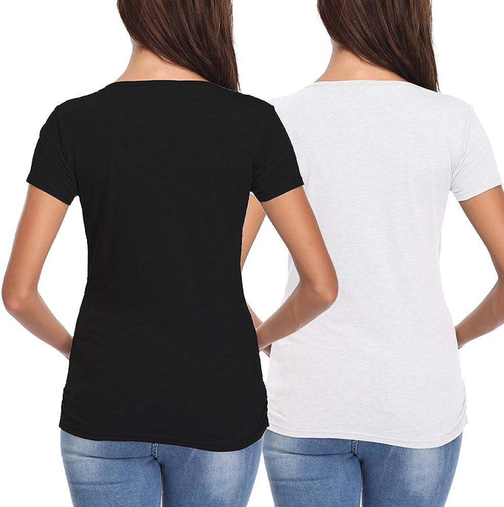 Vevarble Womens Maternity Nursing Tops Clothes Breastfeeding Shirts Short Sleeve Casual Pregnancy Shirts