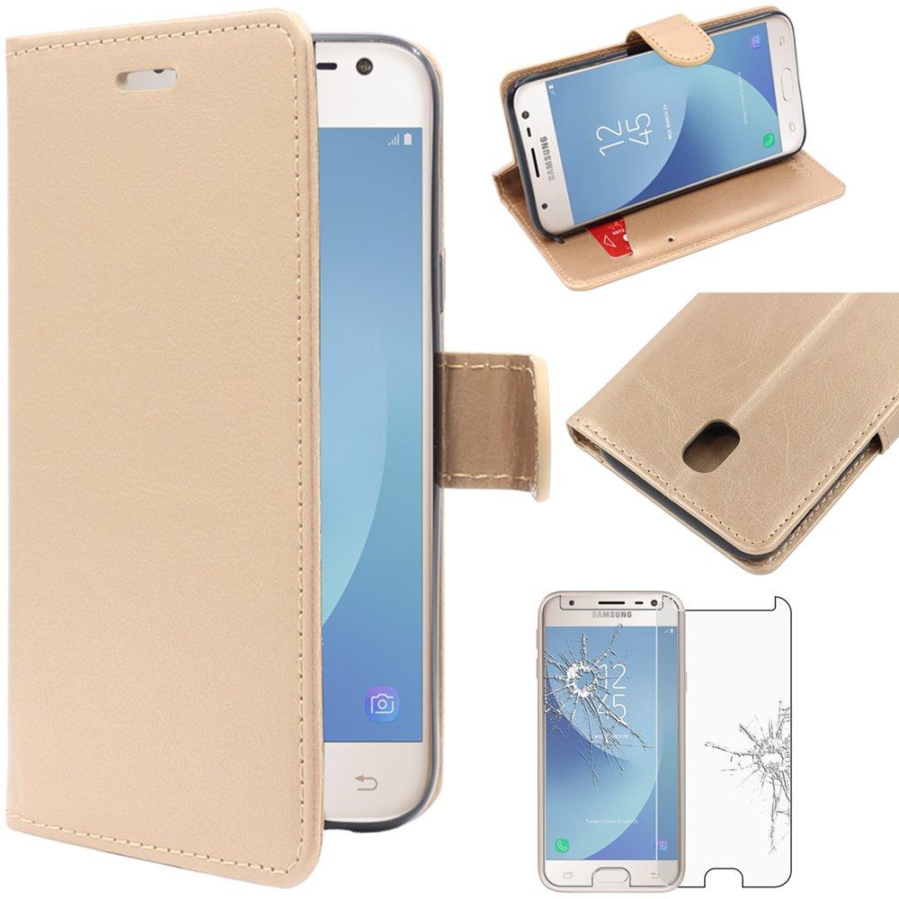 ebestStar Apparecchio: 143.2 x 70.3 x 7.9mm, 5.0 Compatibile Cover Samsung J3 2017 Galaxy SM-J330F Custodia Portafoglio Pelle PU Protezione Libro Flip Pellicola Vetro Temperato Nero