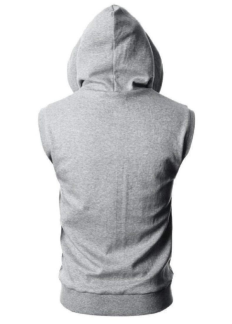 Zantt Mens Hooded Solid Color Sleeveless T Shirt Tank Tops Blouse