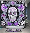 "HMWR Mildew Resistant Shower Curtain Purple Flower Butterfly Sugar Skull Waterproof Polyester Fabric Bathroom Deco 72"" x 72"""