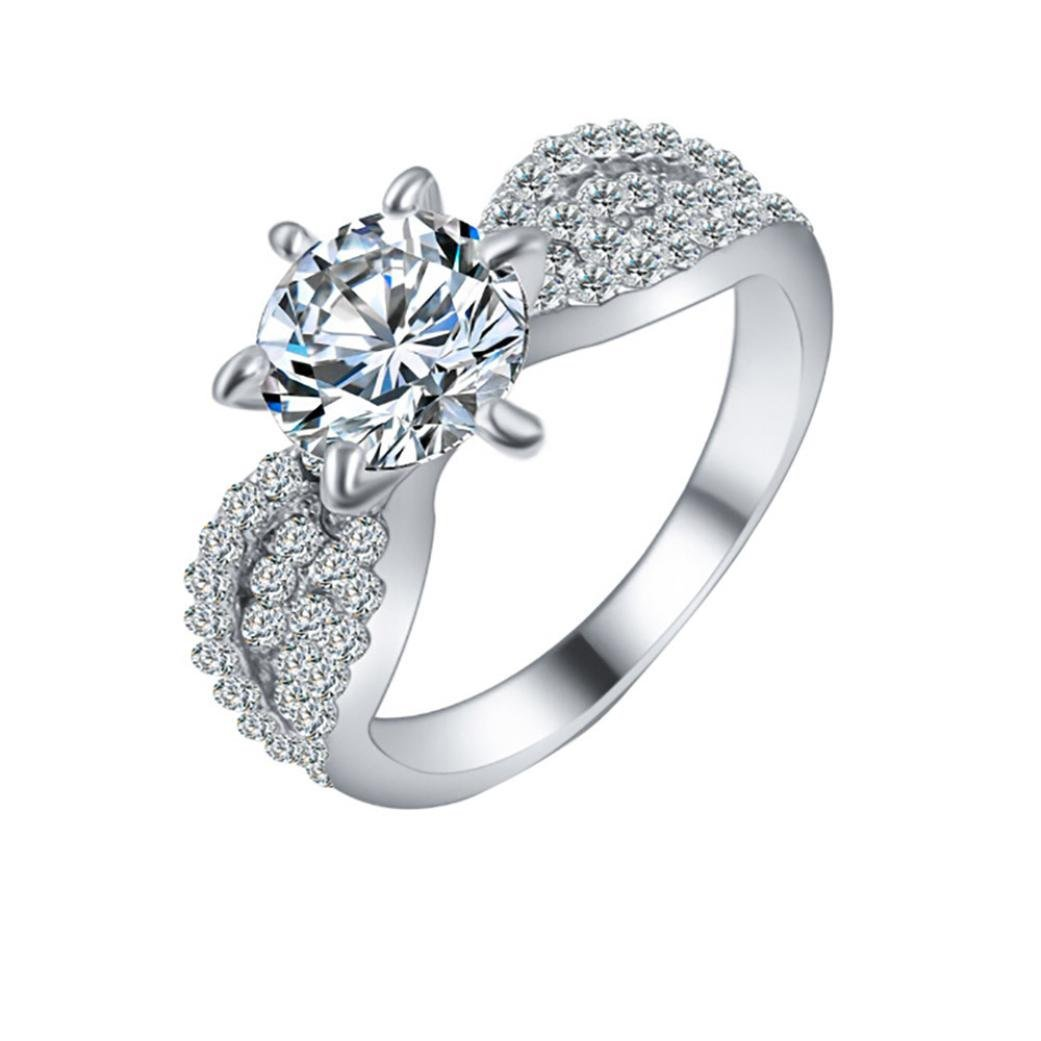 Sparkling Diamond Rings for Women Jiayit Zircon Rings Female Fashion Alloy Ring Jewels Wedding Engagement Ring (7, Silver)
