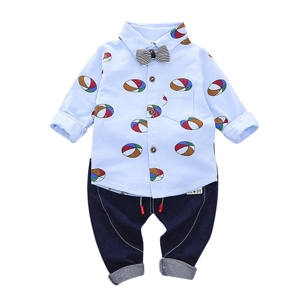 Clearance Sale Kids Baby Clothes Set Ballon Print Gentleman Bow Shit Tops Pants 2 Pcs Outfit Children Clothing