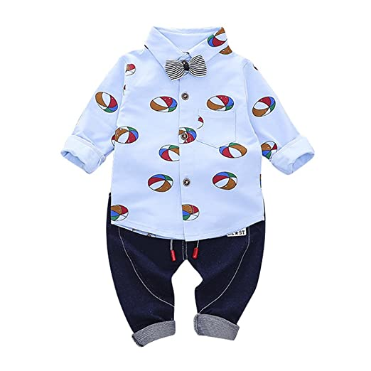 65fe2fbad78b Amazon.com  Clearance Sale Kids Baby Clothes Set Ballon Print Gentleman Bow  Shit Tops Pants 2 Pcs Outfit Children Clothing  Clothing