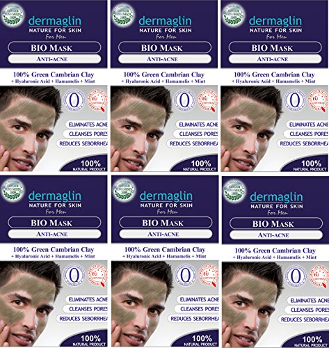 Dermaglin Anti Acne Treatment Bio Face Mask For Men Green Cambrian Clay Hyaluronic Acid Collagen Hamamelis Mint 100 Natural Facial Mask for Men Pack of 6