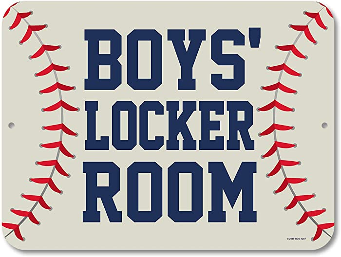 Honey Dew Gifts Baseball Decor, Boy's Locker Room 9 inch by 12 inch Metal Aluminum Novelty Signs, Made in USA