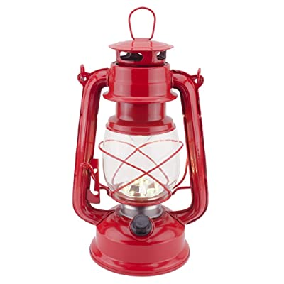 Vintage LED Hurricane Lantern, Warm White Battery Operated Lantern, Antique Metal Hanging Lantern with Dimmer Switch, 15 LEDs, 150 Lumen for Indoor or Outdoor Usage (Red): Home Improvement
