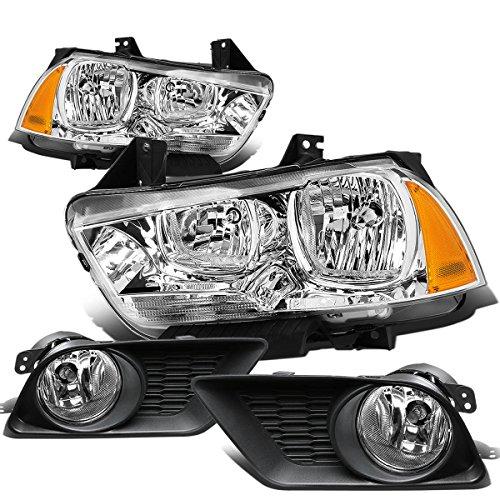 For Dodge Charger SRT LX Pair of Chrome Housing Amber Corner Headlight+Clear Lens Fog Light ()