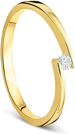 Anillo de compromiso Orovi, de mujer, de oro con diamante de 9 quilates (375). Anillo de oro amarillo brillante de 0,05 crt con diamantes