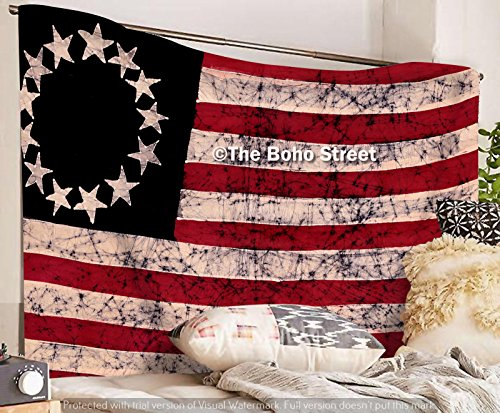 (The Boho Street United States Colonial Patriotic Flag Tapestry, Beautiful Indian Wall Art, Hippie Wall Hanging, Bohemian Bedspread)