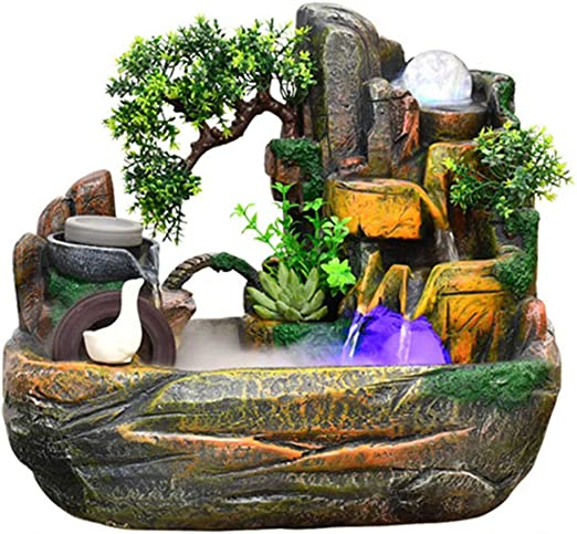 Fuente de Agua Interior - Adornos de Feng Shui - Decoración de Escritorio con Fuente de Agua eléctrica - Ideal para cumpleaños/Aniversario/Regalo de Boda: Amazon.es: Hogar