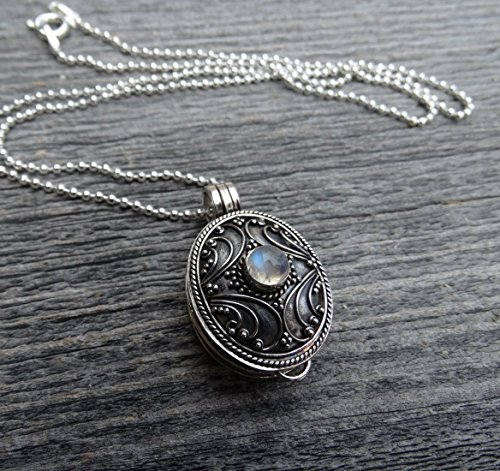 Free Shipping Unique Sterling Silver cremation urn with moonstone for ashes memorial for ashes hair funeral flowers death of mom or loved one stillbirth miscarriage death of pet