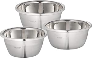 husMait Stainless Steel Mixing Bowls - Set of 3 Premium Kitchen Bowls for Cooking, Mixing or Baking - Great for Snacks or Kitchen Prep
