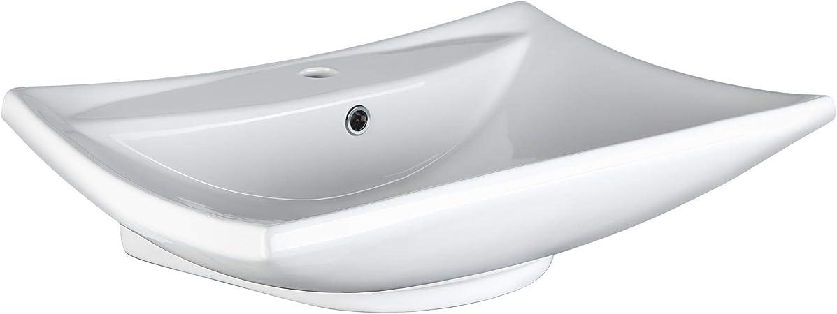TecTake 800444 Lavabo à poser en céramique vasque rectangulaire salle de  bain d\'Angle - diverses modèles (Type 1 Lavabo en céramique   no. 402374)