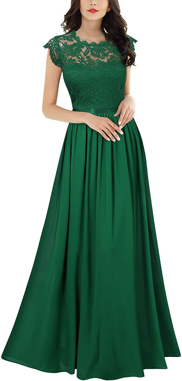 MIUSOL Damen Elegant /Ärmellos Rundhals Vintage Spitzenkleid Hochzeit Chiffon Faltenrock Langes Kleid