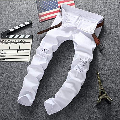 Jeans Vintage Negro Leisure Fashion Blanco Pantalones Slim Skinny Destruido Denim Jeans 29 Fit Size Estiramiento Color Rasgado qXxU5g8w