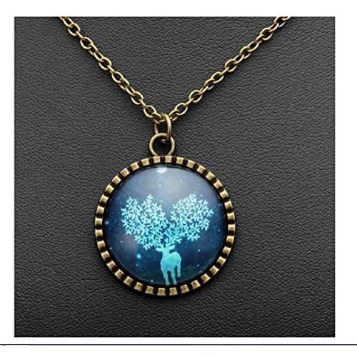 Wholesale Bronze Time Gem Blue Elk Deer Pendant Necklace Glass Cabochon by 24/7 store supplier
