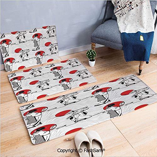 FashSam 3 Piece Non Slip Flannel Door Mat Japanese Geisha Girl with Traditional Kimono Folk Culture Style Modern Artful Image Indoor Carpet for Bath Kitchen(W15.7xL23.6 by W19.6xL31.5 by W17.7xL53)