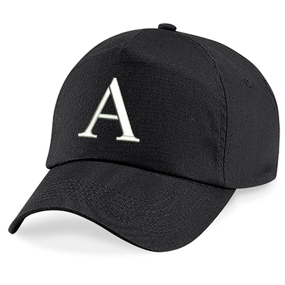 4sold Children School Caps Kids Hat Sport Alphabet A-Z Boy Girl Adjustable Baseball Cap Black kids black letter white