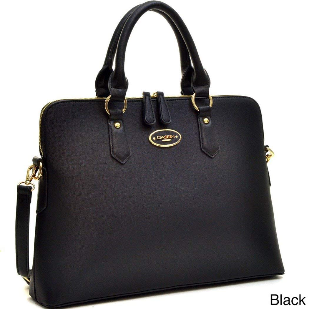 DSOS Black Briefcase Satchel Handbag, Rolled Handle, Slim, Faux Leather