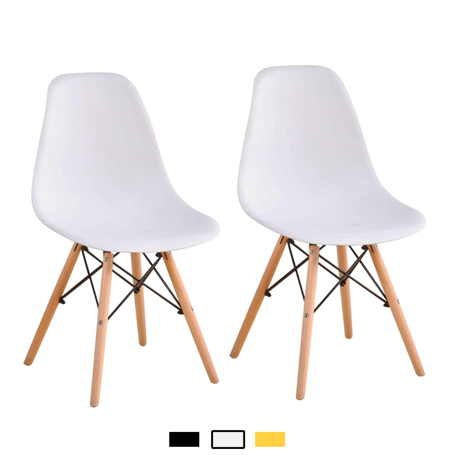 YEEFY Modern Style Dining Chairs Mid Century Dining Room Chairs with Natural Wood Set of 2, (White)