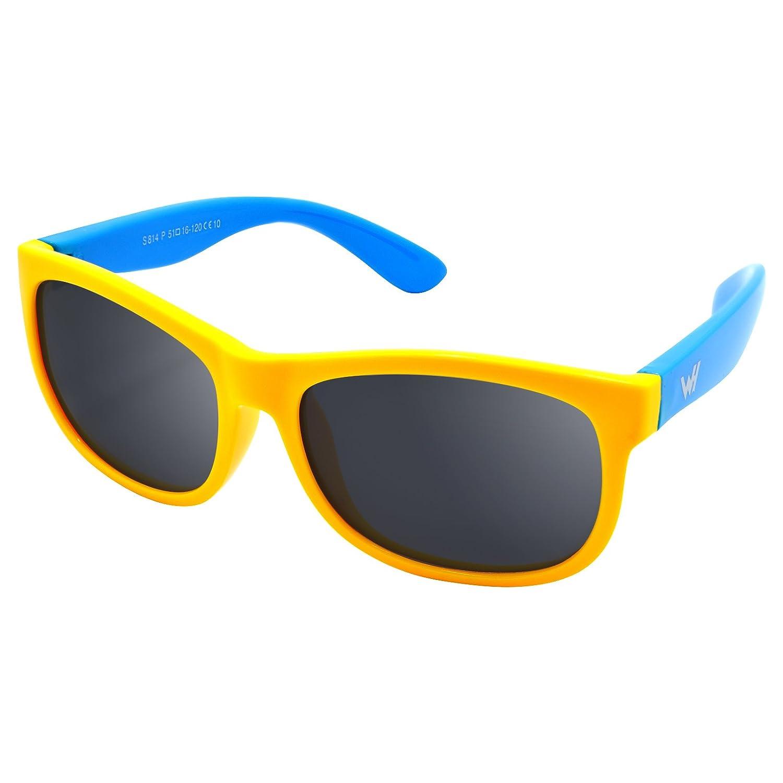 WHCREAT Kinder Polarisierte Sonnenbrille Flexibel Gummirahmen für Mädchen Jungen Alter 3-10 E78 darkblue-yellow black
